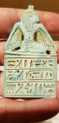 RARE ANCIENT EGYPTIAN ANTIQUES TALISMAN AMULET Winged ISIS Carved Stone BC
