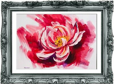 original flowers painting 40MD art watercolor signed A3