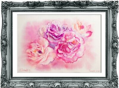 original flowers painting 103UV art watercolor signed A3