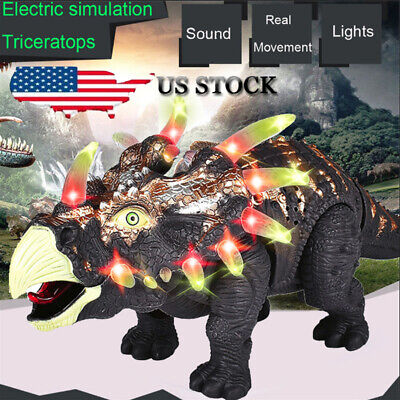 Walking Triceratops Dinosaur Figure With Lights Sounds Real Movement Kids Toy US