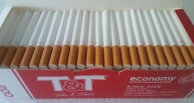 600x pc T&T Full Flavour Empty Tobacco Cigarette Filter Tubes King Size