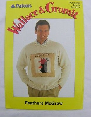 Wallace Gromit Character Jumper Patons Knitting Pattern Feathers