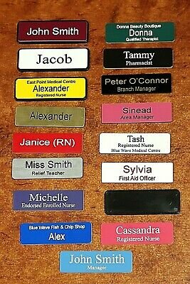 Engraved Name Badge 64x19mm In Holder with Black Edge Pin Fastener
