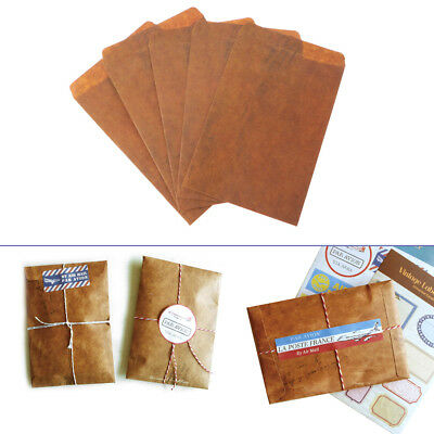 5pc Novelty Creative Vintage Style Kraft Paper Envelope Gift Postcard Stationery