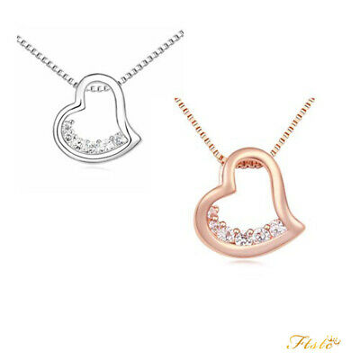 New 18K Gold Filled Women's Love Heart Pendant Necklace With Diamond Crystal