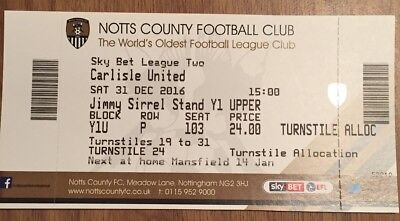 Notts County Vs Carlisle United League Two Matchday Ticket Stub 31/12/2016