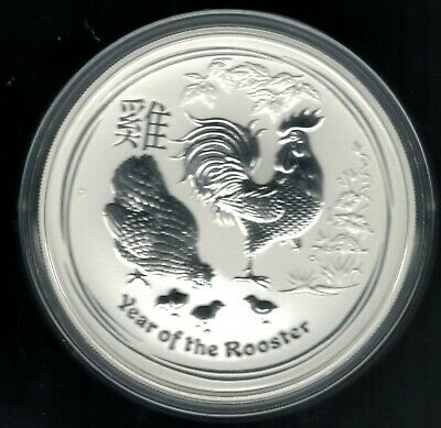 new product c9430 31fd2 MONEDA 5 OZ PLATA PURA Lunar II Year of Rooster  Año del Gallo 2017  Australia