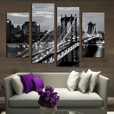 Modern city bridge at night Canvas Oil Painting Wall Picture Decor Unframed