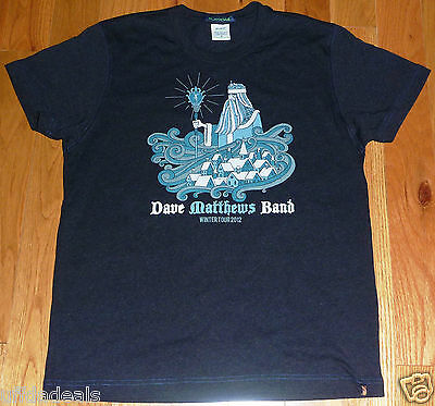 Dave Matthews Band DMB Winter Tour 2012 Blue T-Shirt Schedule Size Small S Shirt