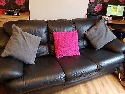 Admirable 3 Seater Black Leather Sofa Dfs Used Comfy Proper Back Machost Co Dining Chair Design Ideas Machostcouk
