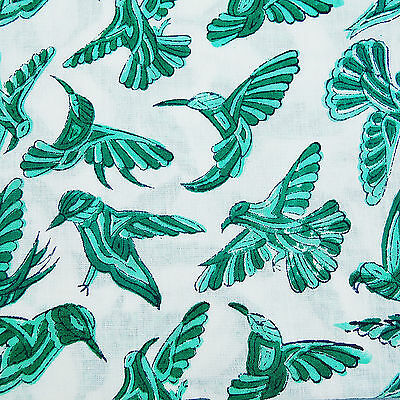 Indian Hand Printed Running Natural Cotton Fabric Green Birds Christmas 10 yards