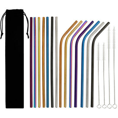 14pcs Stainless Steel Drinking Straw Metal Bent Straight Straws Multi-Color NEW