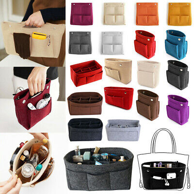 Portable Felt Insert Handbag Tote Multi Pocket Purse Organizer Cosmetic Tidy Bag