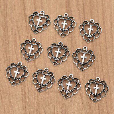 10pcs Ancient Silver Christian Cross Heart Alloy Charms Jewelry Making Material