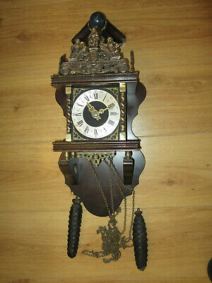 Dutch vintage wood & brass wall clock weight driven by F.Hermle/NU ELCK SYN SIN