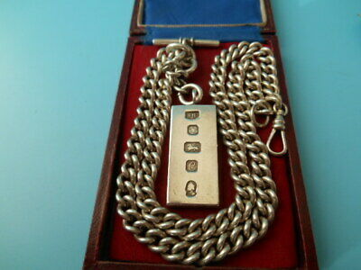 SOLID SILVER 20inch DOUBLE ALBERT / NECK CHAIN & INGOT FOB NOT SCRAP 107.4grms