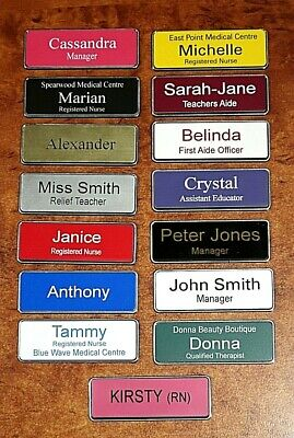Engraved 76x25mm Name Badge With Metalic Silver Edge Magnetic Fastener