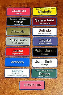 Engraved 76x25mm Name Badge With Holder Blue Edge Pin Fastener