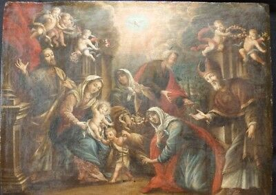 Fine oil painting.The Holy Family and Saint Juan.Oil on board.Italy, 17thcentury
