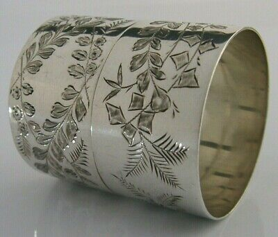 Beautiful Pair Of Victorian Solid Silver Fern Napkin Rings 1890 Antique