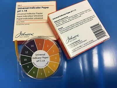 Universal Indicator Paper pH 1-14, Pack of 5 Meter Reel or Refill made in the UK