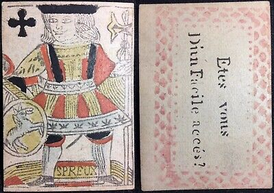 XVIIIc Historic Antique Playing Cards Colour Woodcut Knave Secondary Use Single