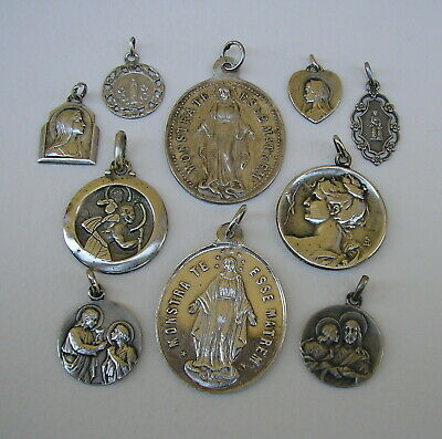 French Antique Sterling Silver Religious Medals 10 Lot