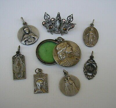 French Antique Religious Medals/ Joan of Arc Locket Medal/ Mary Brooch. 8 Lot