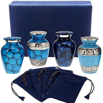 Mini Cremation Urns Blue Keepsake Classic Forever Remembered Small Human Ashes