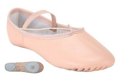 Pink Leather Ballet Shoes Split Sole with Attached Elastics