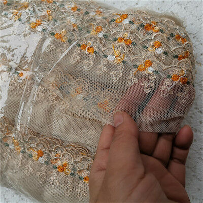 """10Yards Cream Gauze Embroidery Trims Tulle Lace Dress 2.36"""" Width"""