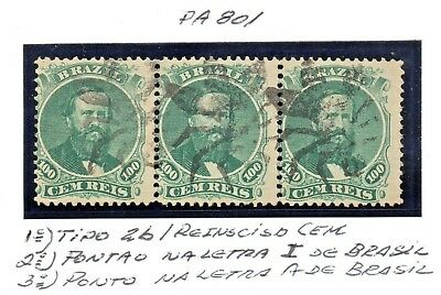 STRIP OF BRAZIL D PEDRO 1866 100rs RHM-27 PERF WITH INSECT CANCEL! VERY RARE!!