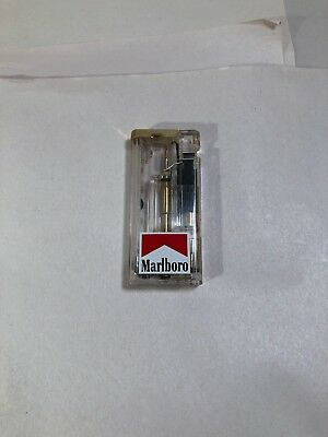 Vtg MARLBORO Cigarette Lighter Transparent Body w/Red Flashing Interior Lights