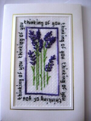 Thinking of You Completed Cross Stitch Card 6x4""