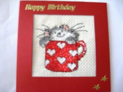 "Birthday Card Completed Cross Stitch  Kitten in a Mug 5.5"" sq"
