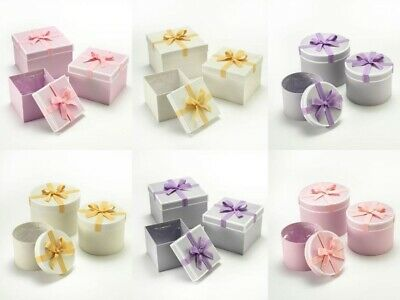 Stephy Floristry Lined Hat Boxes Sets Of 3 Round And Square Choice Of 3 Colours