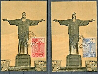 BRAZIL  2 POSTCARDS with Cardeal Pacelli stamps. RHM C-80 & C-81.