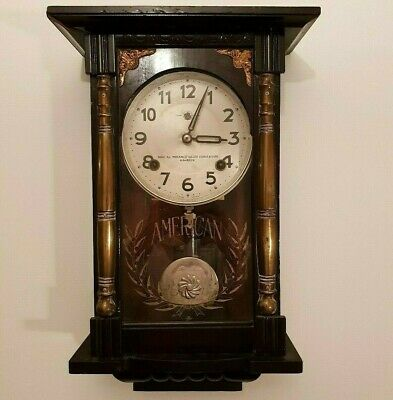 Antique Japanese Kusama Mechanical Pendulum Clock Dark Wood Case Brass Columns