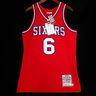 100% Authentic Julius Erving Dr J Mitchell   Ness Sixers Jersey Size 52 2XL  Mens 13db7a8db