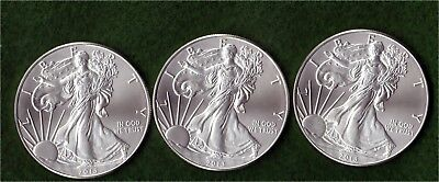 2013 US Silver Eagle 1 oz Lot of 3 Brilliant Uncirculated