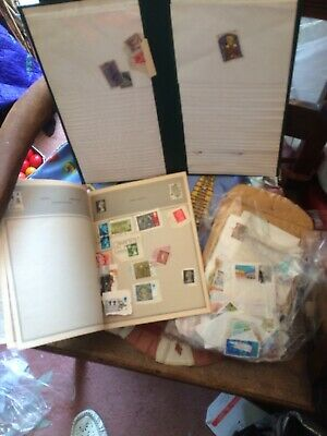 Great Job Lot  Very Old Vintage WORLD STAMPS & Album