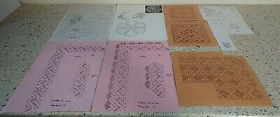 Lot 11 : Collection of 10 Bobbin Lace Patterns Prickings for Lace Making