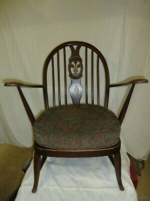 Ercol Vintage armchair, Fleur-de-Lys back, genuine early 1950's, Very Good