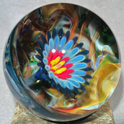 """Vortex Art Glass Marble by Bill Grout 2.00"""" Serious Black Ridiculus 022319a Boro"""