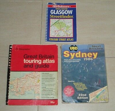 VINTAGE MAP / STREETFINDER BOOK BUNDLE x 3 GREAT BRITAIN / GLASGOW / SYDNEY