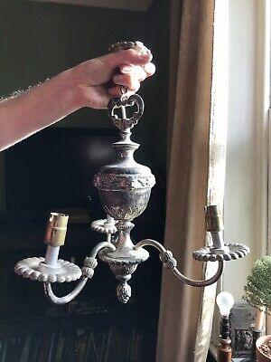 Antique Silver Plated Chandelier Lion And Grape Details