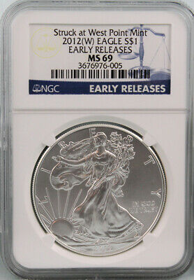 2012-W AMERICAN SILVER EAGLE $ NGC MS69 FLAG Early Release 1oz Fine Silver #005