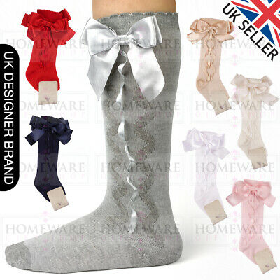 Girls Knee High Bow Socks Spanish Style Slotted Ribbon Socks Uk Designer Kids