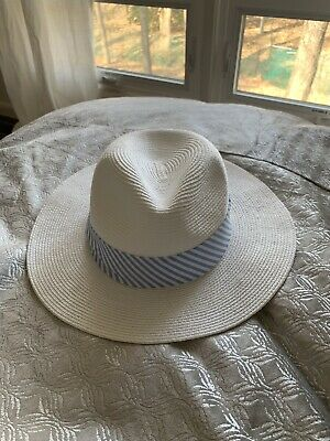 f49d81bafb BANANA REPUBLIC WHITE Fedora Sun Hat Straw Hat NEW Packable S M ...