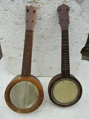 "(2) Vintage Banjo Ukuleles, 1920's, Projects, Selling ""as Is"""